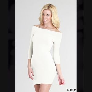 Ivory Off Shoulder Seamless Dress with 3/4 Sleeves